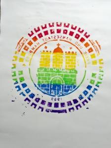 Hamburgwappen in Regenbogenfarben